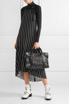 Balenciaga - Striped Stretch-jersey Halterneck Midi Dress - Black - FR40