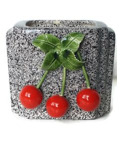 Lovina Ceramic Cherry Planter Vase Vintage by colonialcrafts