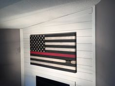 Custom Flags made out of retired Fire Hose by AmericanFireFlags Fire Hose Projects, Fire Hose Crafts, Scrap Wood Projects, New Living Room, Living Room Decor, Firefighter Crafts, Fire Hall, Fire Fire, Custom Flags