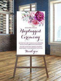 Printable Wedding Sign Burgundy Unplugged Wedding by instanttrends