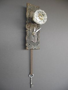 WOW Wonderful Clock made from vintage repurposed door plate and