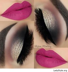 Pink lips and gold eye makeup - LadyStyle