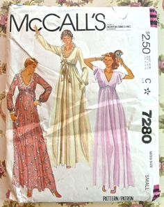 McCalls 7280  Vintage 1970s Womens Nightgown Pattern by Fragolina, $4.50