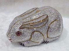 Silver/Gold~ Handmade Austria Crystal Rabbit 3D Shaped Cocktail Bag