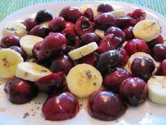 Bing Cherry and Banana Salad with Lemony Poppy Seed Dressing