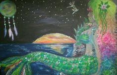 Mermaid#paint#art#colors#glitter#neon#moon#stars#sunset#fantasy#dreams#