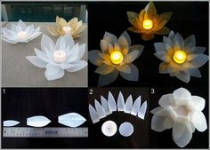 3 to 4 milk jugs, scissors, silicone glue, battery operated tea lights and acrylic paints. To make each of these flower lights first cut petals of a milk jug in 3 different sizes and a circle too. Start gluing petals to the circle taking the smallest first as shown in the photo.