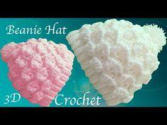 Gorro a Crochet punto de flores media luna en 3D tejido tallermanualperu - YouTube