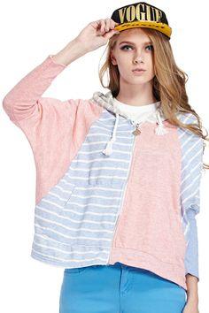 ROMWE   Striped Color Block Batwing Sleeve Sweatshirt, The Latest Street Fashion