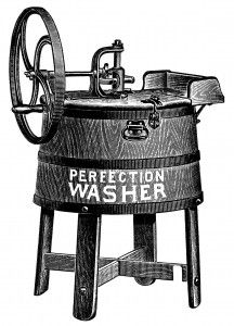 Antique Perfection Washing Machine ~ Free Black and White Clip Art