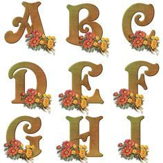 Flowers and letters for decoupage