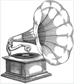 illustration of an early phonograph