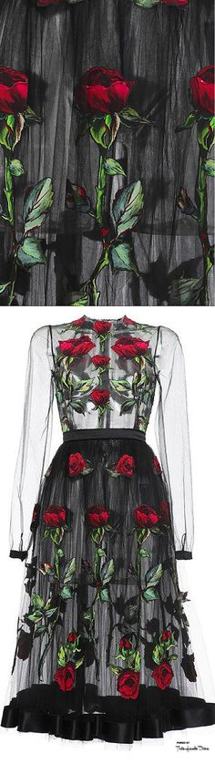 Dolce & Gabbana Fall 2015 Black Rose Embroidered Full Skirt Tulle Dress ♔THD♔
