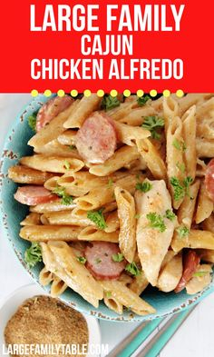 Large Family Cajun Chicken Alfredo | Easy Skillet Meal Cheesy Recipes, Chicken Recipes, Traditional Italian Dishes, Easy Skillet Meals, Large Family Meals, Chicken Alfredo, Dinner Recipes, Stuffed Peppers, Cooking