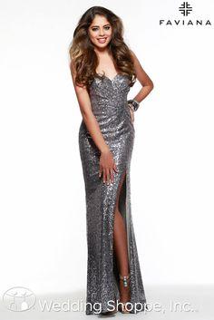 Glamorous platinum sequin prom dress.