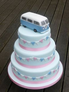 VW Camper Van topper on pale blue 3 tier cake with pink, white and blue bunting decoration. Camper Van Cake, Caravan Cake, Vw Camper Vans, Camper Cakes, Cake Cookies, Cupcake Cakes, Cupcakes, Transporteur Volkswagen, Vw Bus