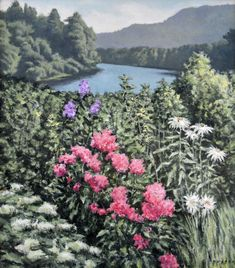 Blossoms On The River, original oil on canvas by Lewis Bryden   R. Michelson Galleries