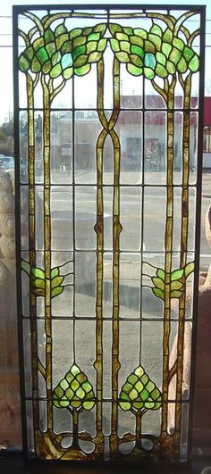 Antique Stained Glass Window Panels | Gallery :: Antique Stained Glass :: AntiqueStainedGlassTreePanel25x65