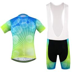 Men's Blue Green Short Sleeve Cycling Jersey Set #Cycling #CyclingGear #CyclingJersey #CyclingJerseySet