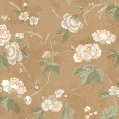 Thick branches and leaves give way to large peonies in flower atop a backdrop of washed stucco effect, all rendered with the look of watercolors on shaded grounds. The large open blossoms and thick branches have an almost cherry blossom feel, and warmer colors give it an updated cottage chic appeal.