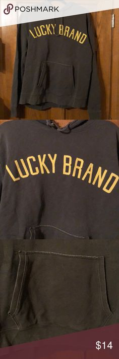 Lucky Brand grey XL hoodie! This is a re Posh, just never wore it. EUC! Pocket in front! Darker grey w/yellow embroidery. Lucky Brand Shirts Sweatshirts & Hoodies