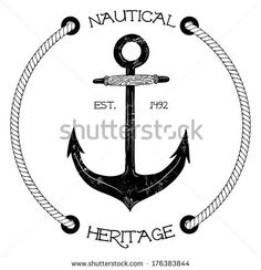 Vintage nautical badge with anchor - stock vector