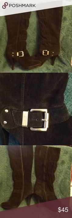 Michael Kors Lattington Black Boots w/Buckle Sz7.5 Michael Kors Black Suede Boots w/ Silver MK Buckle Size 7.5 Excellent Condition- worn only one time Michael Kors Shoes Heeled Boots