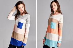 Fall is coming and your looking for the perfect long sleeve t-shirt for those cool brisk days. Pair this adorable color block pocket tunic with a sweater or jacket for a trendy effortless look!