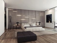 Interior, Modern Bedroom Decoration From Different Angle Ideas From Grey Gloss Wall Interior And Great Natural Lighting From Bay Window Design And Wooden Flooring With Grey Wide Rug Design And Furniture: Astonishing Unique Wall Texturing