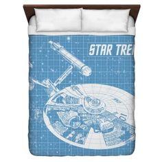 Star Trek Merchandise - Star Trek Enterprise Blueprint Queen Duvet Cover White