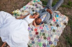Real Weddings: Lisa and Jared's Missouri Elopement - a vintage quilt - great for photos