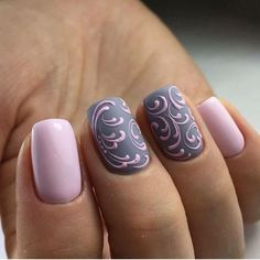 Lilac and gray nail art design. #best #nail #designs #art