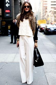 Oivia Palermo. Casual winter  White  & fur style.