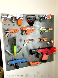 As my boys gets older, their interests in toys change, often daily. Right now, one of their favorite things is nerf guns. Wall Storage, Toy Storage, Storage Rack, Hidden Storage, Craft Storage, Nerf Gun Storage, Nerf Toys, 3d Prints, Getting Old