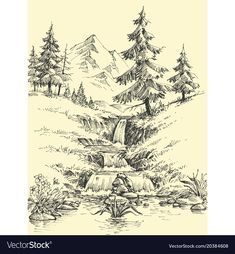 A creek in the mountains alpine waterfall vector image on VectorStock Epic Drawings, Fish Drawings, Fantasy Drawings, Pencil Art Drawings, Pencil Sketches Landscape, Landscape Drawings, Drawing Scenery, Nature Drawing, Waterfall Sketch