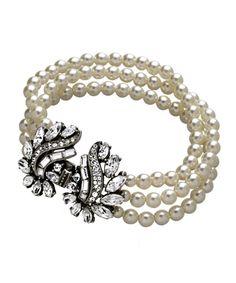 Ben-Amun Crystal Angel Wings Pearl Bracelet