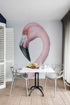 Boutique Hotel | Flamingo wallpaper | Pink | Kartell | Masters chair | Marble | Dining | Interior design | Etienne Hanekom Interiors