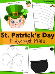 Free St. Patrick's Day Playdough Mats