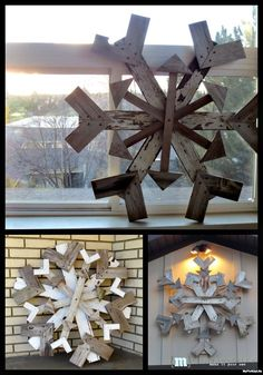 Wood Projects Scrap wood snow flakes - My Altered State - MyFixitUpLife - 'Tis the season for amazing DIY Holiday decor. Although there are so many DIY Holiday project, these 5 caught my eye. These homemade holiday decor will dress up any Pallet Christmas, Noel Christmas, Country Christmas, Christmas Projects, Winter Christmas, Holiday Crafts, Outdoor Christmas, Pallet Crafts, Wood Crafts