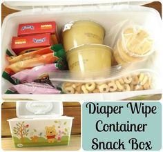 Diaper Wipe Container Snack Box great idea for places that do not allow outside food; Toddler Meals, Kids Meals, Toddler Activities, Wipes Box, Baby Wipes Container, Snack Box, Lunch Box, Everything Baby, Baby Hacks