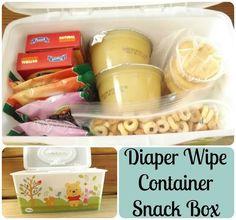 Diaper Wipe Container Snack Box #kids #snack #ideas