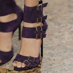 Shoespie Purple Multi Buckles Sandals