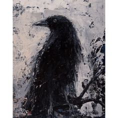 Edgar Alan Poe Gothic CROW Raven Giclee Print on Canvas of the... (£52) ❤ liked on Polyvore featuring home, home decor, wall art, goth home decor, black and white paintings, giclee wall art, black white canvas paintings and canvas wall art