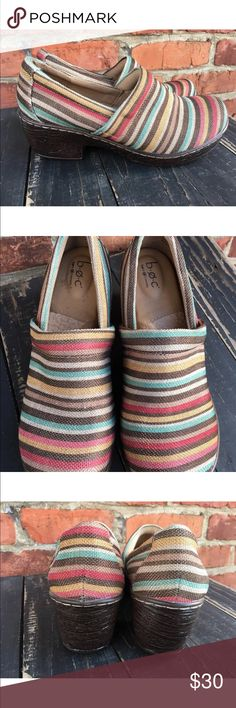 B.O.C. Nadiyya Women Multi Color Clogs Shoes 9 1/2 This is a gorgeous pair of clogs by boc! They are a beautiful multi colored stripe shoe and made so cute. They were worn once for about 30 minutes and in excellent condition. They are size 9 1/2. D b.o.c. Shoes Mules & Clogs