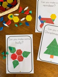Help build spatial awareness and fine motor skills to your play this Christmas! These ready to print cards are the perfect addition to wooden patterns blocks this festive season to create a STEM invitation to play! Preschool Christmas Activities, Kids Learning Activities, Spring Activities, Preschool Crafts, Preschool Activities, Teaching Kids, Christmas Themes, Christmas Crafts, Xmas