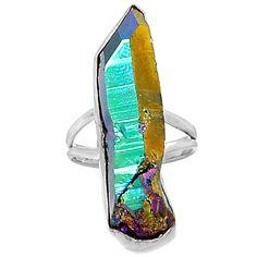 Titanium Aura Quartz 925 Sterling Silver Ring Jewelry s.9.5 TAQR82