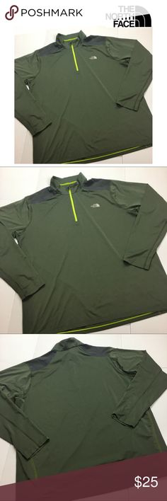 """The North Face Green Pullover Mountain Athletics The North Face Olive Green Pullover Mountain Athletics Tops  Size XXL / B 25.5"""" / Length 30"""" / Sleeves 27"""" / Front Zipper  91%Polyester,9%Elastane  -Color : Olive Green  -Front Zipper Pullover Style  -Lightweight Material   Excellent Condition !! The North Face Shirts Tees - Long Sleeve"""
