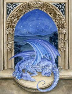 Dragon art print Night sky Draco constellation by meredithdillman