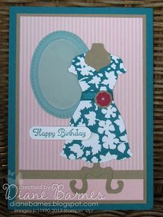 Dress card made with Stampin Up Dress Up framelits by Di Barnes - colour me happy