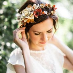 A floral crown can still be worn in the fall... #weddinginspo #fallflorals #flowercrowns : @pinterest